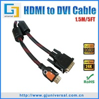 Free Shipping 1.5M 5FT HDMI to DVI Cable(5PCS/Lot), HDMI to DVI 24+1 Male Cable, For HDTV PC Monitor LCD,HDMI065-1.5