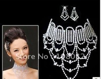 MIN.ORDER $15,shining jewelry set for bride,brilliant tessels on the necklace