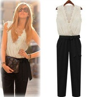 Summer Fashion Women Jumpsuit Tank Sleeveless Overall Ladies' Casual Jumpsuits Black Pants Rompers White Lace Top Belt Plus Size