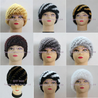BG5473 Real  Knitted Mink Fur Beanie Women  Wholesale Lady Stripes Fur Hat