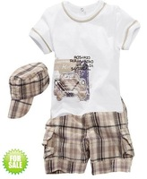 free shipping baby boys summer clothing sets suits short sleeve shirt+pants+hats children garment infant wear clothes