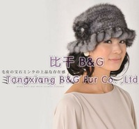 BG100765 Several Colors Genuine Mink Fur Crochet Bucket Hat With Round Visor Flower Winter Hat