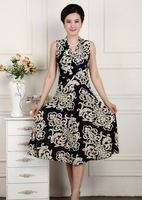 Free shipping Mid-age women's vintage sleeveless V-neck print plus size dress best gift for mother