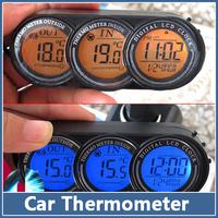1x LCD Screen digital Car Thermometer Clock Alarm Calendar Voltage Monitor Sensor blue/orange Backlight Auto deagnostic tool