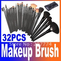 Promotions, 32 pcs/set Professional Makeup Brush Makeup Brushes Cosmetic Brushes+ Black Leather Case , Free Shipping
