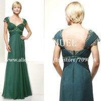 Cap Sleeve FD132 A Line Floor Length Elegant Chiffon Mother of the Bride Dress Evening