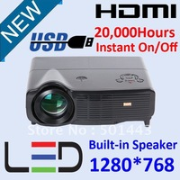 720P 1280x720 LED LCD Projector with USB HDMI