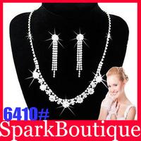 (40% off Bulk Price) Crystal Bride Necklace Earrings Set Rhinestone Wedding Necklace Free Shipping