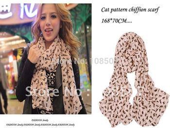 hot sale lady print cat pattern chiffion long scarf shawls 10pcs/lot with mix colours wholesale Designer