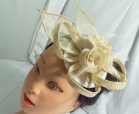 beige  sinamay fascinators, with fabric edge sinamay symphony style ,clear comb 6pcs/lot,free shipping
