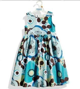 Baby girls' dress kids blue D1103 flower back Hollow vest Girl one piece girls dresses 1026 swj