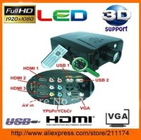 For home entertainment full hd 3d led projector 90W led lamp 2000lumens 30000hours life span hot selling