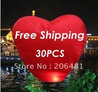 30 pieces/Lot Love Heart Pure Color Sky Lanterns &amp;amp; Lantern Flashlight For Valentine&amp;#39;s Day Free Shipping To Worldwide