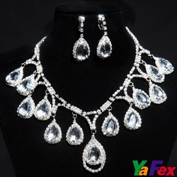 Free Shipping 1set/lot Graceful Wedding Bridal Bridesmaid Party Rhinestone Teardrop Vintage Necklace Fashion Earring set WA131(China (Mainland))
