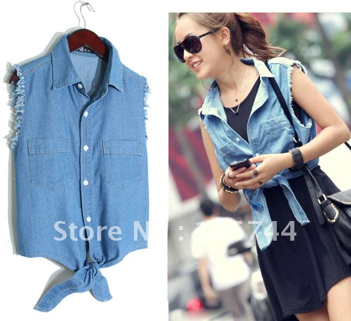WRSC10021 New arrive lady denim vest shirt cardigan bandage bow all-match women denim vest Free Shipping wholesale jeans shirts(China (Mainland))