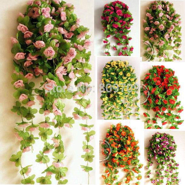 "5PCS/Lot Lifelike 86"" Artificial Silk Mini Rose Hot pink Flower Vine Garlands Plants Wedding Party Home Decor ,9 Colors(China (Mainland))"