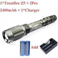TrustFire Z5 1600-Lumen Cree XM-L T6 1600LM LED Flashlight Torch +2 x 18650 2400mAh battery+Charger +Free shipping