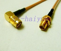 Pigtail cable SMA female bulkhead to SMA male right angle RG316 15cm