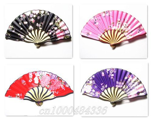 Free Shipping wholesale 10pcs/lot Japanese silk fan,satin fabric fan(China (Mainland))