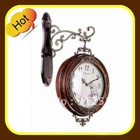 hot selling solid  wood material double sided clock fast delivery