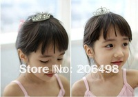 Free freight!Wholesale & retail silver South Korea style girl Alloy crown design hair combs,kid Hair Accessories,baby Alice band