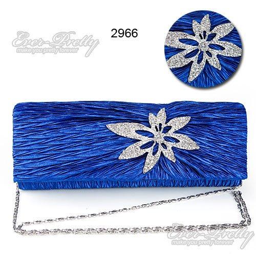 FS02966BL Hand Shoulder Blue Satin Rhinestones Flower Party Clutch Evening Bag(China (Mainland))