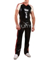 Latex Rubber Joggers - Red sport wearing rubber garment latex trousers