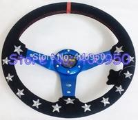 350mm MOMO Suede Steering Wheel with White Stars Racing Car MOMO Wheel