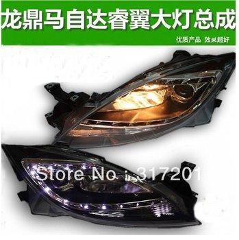 Free ship!TaiWan LongDing Mazda headlight 6 with xenon projector lens,HID bulb,LED Line,Director signal light,optional ballast