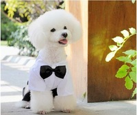 Factory outlet! fashion gentleman design dog clothes pet suit with nice bow tie 10pcs/lot +free shipping!