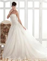 Stunning A-line/Princess Strapless Chapel Train Organza Wedding Dress