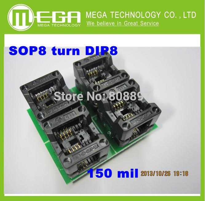Free  Shipping 10PCS /LOT New SOP8  turn DIP8    SOIC8 to DIP8   IC socket Programmer adapter Socket