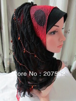 100% guaranteed beaded black muslim hijab with inner,islamic  long shawels with inner caps accept   lz033