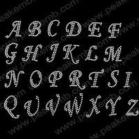 30pcs/Lot Free DHL Shipping Alphabet Crystal Rhinestone Transfer Designs DIY  Bling Garment Free Custom Design Service