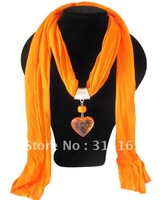 Min Order is $20(Mixed Order),SF61201, Orange Handmade Plastic Heart Pendant Wholesale Long New Scarves, Free Shipping