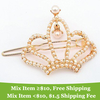 Noble !Luxurious! Pearl Crown wedding hair pins Jewelry Wholesale !AAA!!  ! cRYSTAL sHOP
