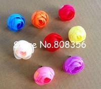 100pcs New Arrival Artificial Simulation Silk  Camellia Rose Flower Head Blossom Wedding Christmas Party 3.5cm Blue Pink Cream