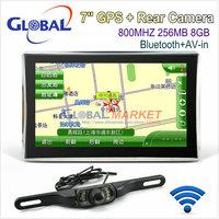 7 inch GPS navigation SiRF Atlas-VI Dual core CPU 800MHz DDR 256M 8G memory Bluetooth/AV-IN + Wireless Car Rear View Camera