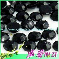2000pcs  Free shipping 10mm black  imitation   Acrylic flatback rhinestone