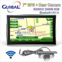 "7"" Car GPS Navigation + Bluetooth + AV-IN +FM +MP3 MP4 +256MB+ 8GB memory + free Map + Night Vision Rear View Reversing"