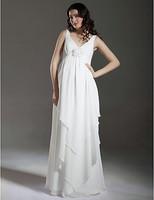 Stunning Sheath/ Column Empire Straps Floor-length Chiffon Over Satin Maternity Wedding Dress