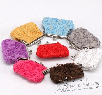 "Free Shipping + Promotion! QB013 3.6"" x 2.8"" Fashionable Rose Embroidery Metal Frame Purses 24pcs Wholesale"