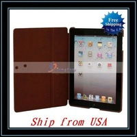 Free Shipping,Wholesale 5pcs/lot Cross Pattern Leather Case For iPad 3/For iPad Brown Ship from USA-87004076