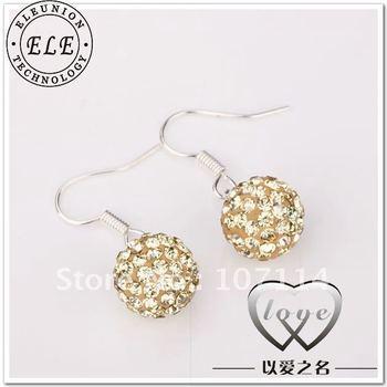 Shamballa Earring, fashion earring, free shipping, CZ Disco Ball Bead LKNSBE014