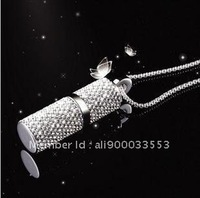 4G crystal cylindrical girls necklace USB flash drives