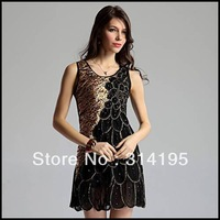 Free shipping low price wholesale sexy party dresses peacock style silks and satins crumple vest formal sexy dress, lmds3012