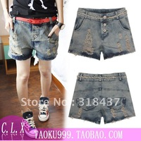 FREE SHIPPING Women's Fahsion Retro finishing Hole Denim  Shorts, 2012