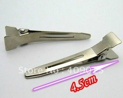 DIY Accessory,500pcs/lot,4.5cm Silvery Single Prong Alligator Alloy Clips.Baby Hair Clips,no teeth.(China (Mainland))