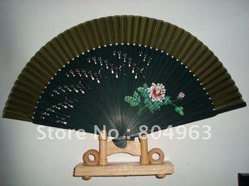 [China Confucian]Free Shipping 10pcs of 100%silk fan with freehand flower,folding fan,oriental design hand held bamboo fan