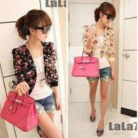 Fashion Long Sleeve Floral Print Shrug Short Jacket Chiffon Top 3 Colors